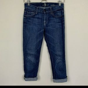 7 For All Mankind Jean Crop Flare Blue Sz: 24